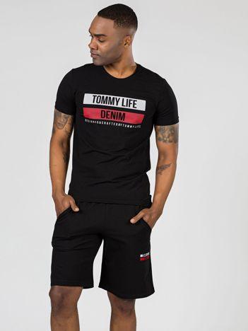 TOMMY LIFE Czarny męski t-shirt z printem