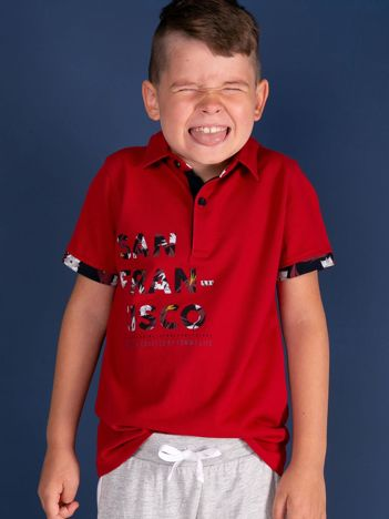 TOMMY LIFE Czerwona koszulka polo dla chłopca z nadrukiem