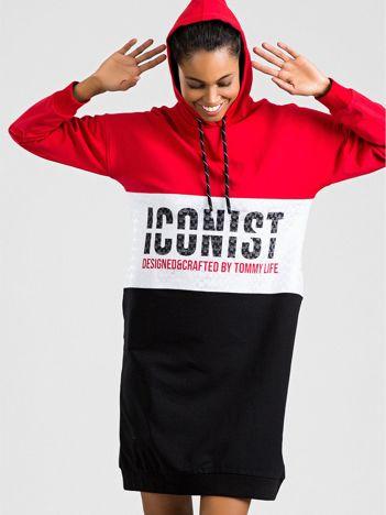 TOMMY LIFE Czerwono-czarna sukienka z kapturem