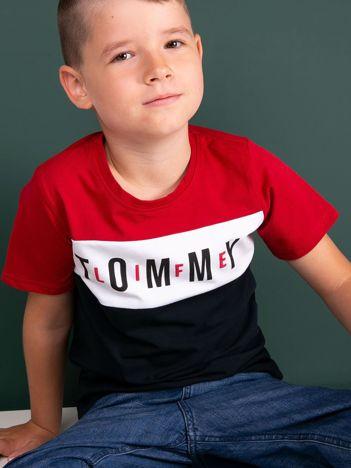 TOMMY LIFE Czerwono-granatowy t-shirt chłopięcy