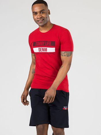 TOMMY LIFE Czerwony męski t-shirt z printem