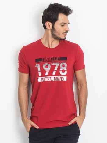 TOMMY LIFE Czerwony t-shirt męski