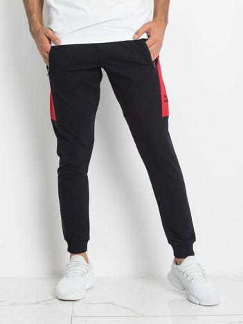 TOMMY LIFE Granatowo-czerwone dresowe spodnie męskie