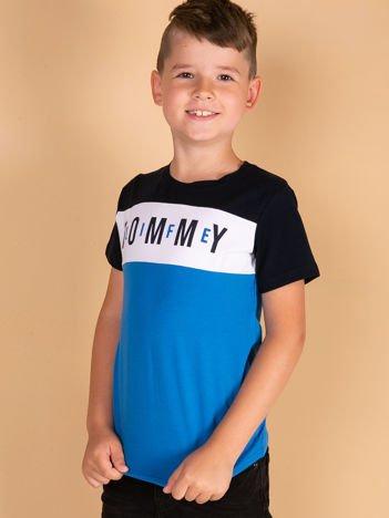 TOMMY LIFE Granatowo-niebieski t-shirt chłopięcy