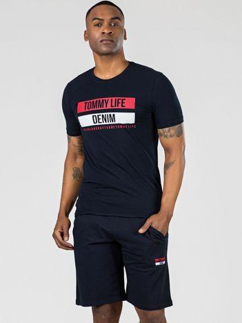 TOMMY LIFE Granatowy męski t-shirt