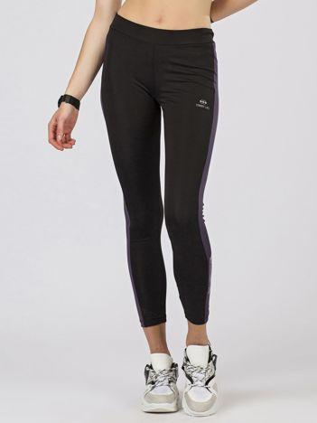 TOMMY LIFE Sportowe legginsy czarno-fioletowe