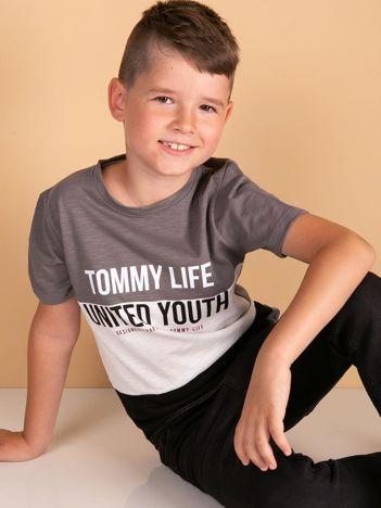 TOMMY LIFE Szaro-czarny t-shirt chłopięcy