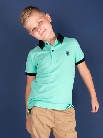 TOMMY LIFE Zielona koszulka polo chłopięca