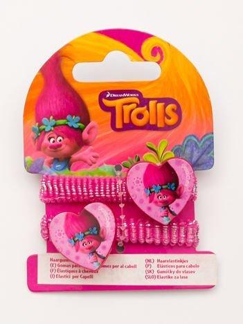TROLLE Komplet 2 połyskliwych rózowych gumek-frotek dla dziewczynki