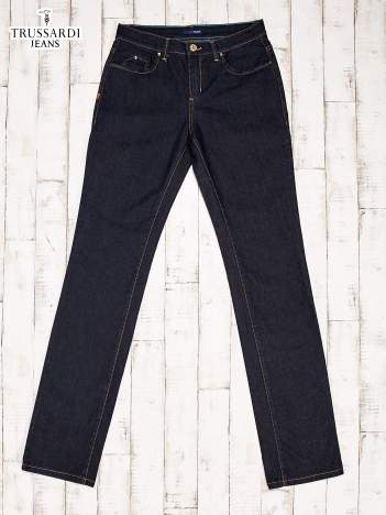 TRUSSARDI Granatowe spodnie jeansowe o kroju regular