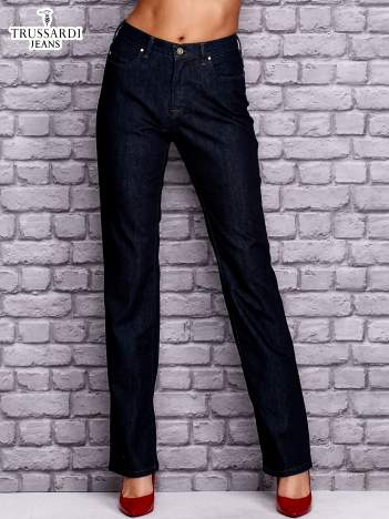 TRUSSARDI Granatowe spodnie jeansowe o prostym kroju