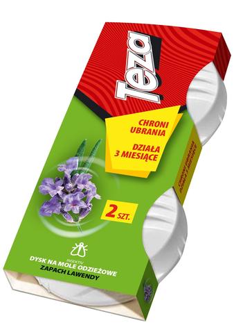 Teza Dysk na mole odzieżowe - zapach lawendowy - 2 szt.