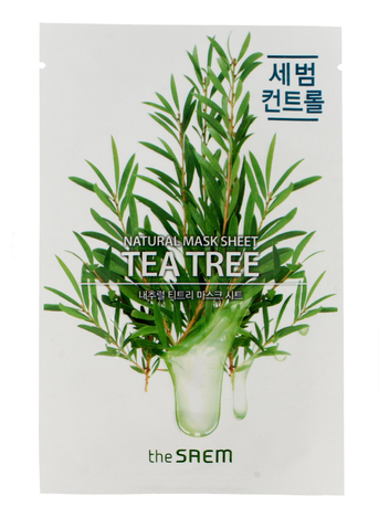 The SAEM Natural Mask Sheet Koreańska maska na tkaninie Tea Tree do cery tłustej 21 ml