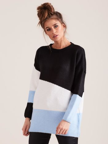 Trójkolorowy sweter oversize niebieski