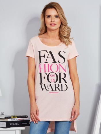 Tunika bawełniana brzoskwiniowa z nadrukiem w stylu fashion