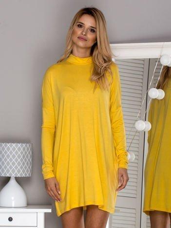 Tunika oversize z półgolfem żółta
