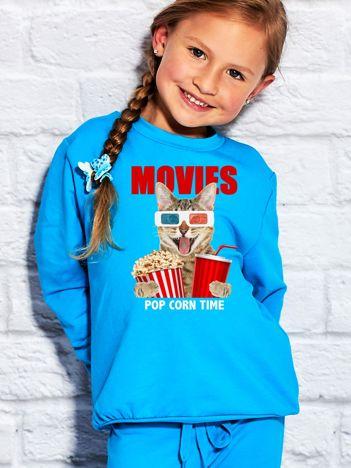 Turkusowa bluza dziecięca z kotkiem i popcornem