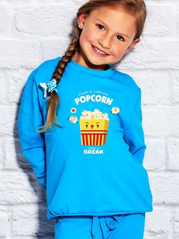 Turkusowa bluza dziecięca z popcornem