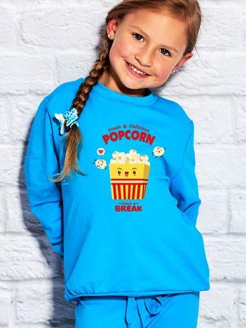 Turkusowa bluza dziecięca z wesołym popcornem