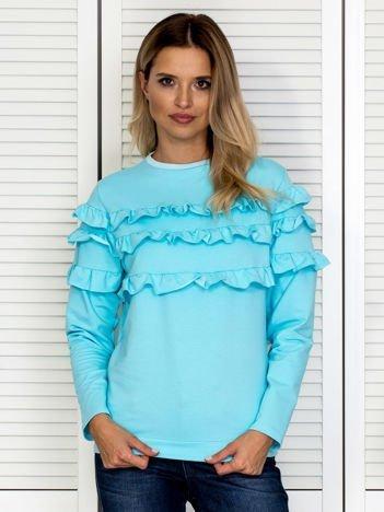 Turkusowa bluza z falbankami