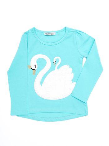 Turkusowa dziewczęca bluzka z futrzanym łabędziem