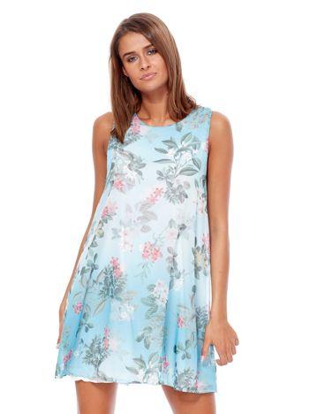 Turkusowa sukienka ombre z nadrukiem kwiatowym