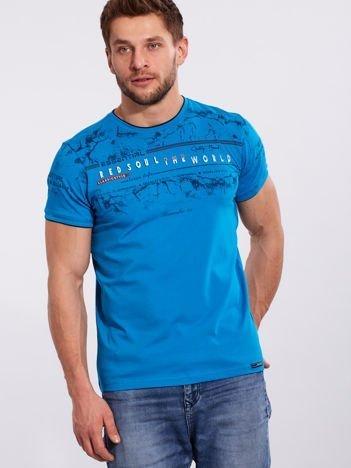 Turkusowy męski t-shirt z bawełny