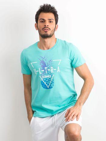 Turkusowy męski t-shirt z nadrukiem