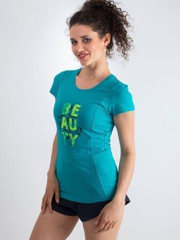 Turkusowy t-shirt Alive