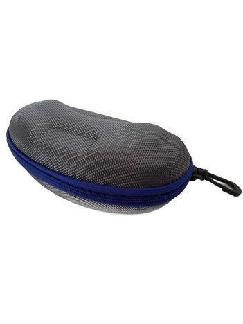 Twarde etui na okulary zapinane na suwak z karabińczykiem stalowo-niebieskie