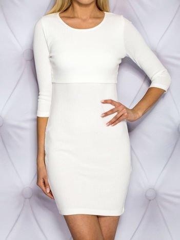 Warstwowa sukienka dzienna w prążek ecru