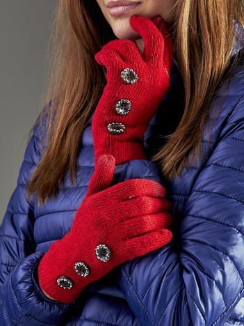 Wełniane rękawiczki damskie dotykowe czerwone