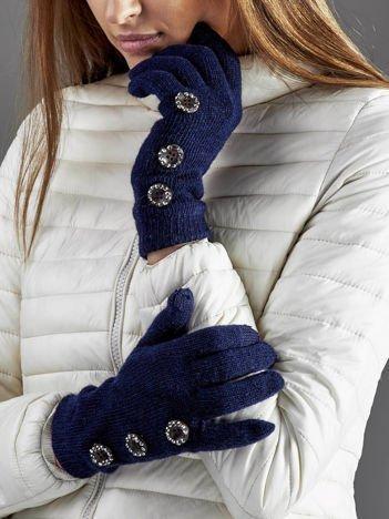 Wełniane rękawiczki damskie dotykowe granatowe