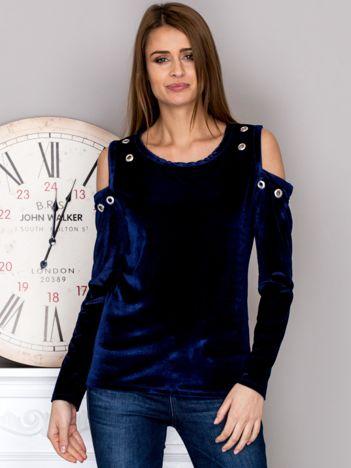 Welurowa bluzka z wyciętymi ramionami ciemnoniebieska