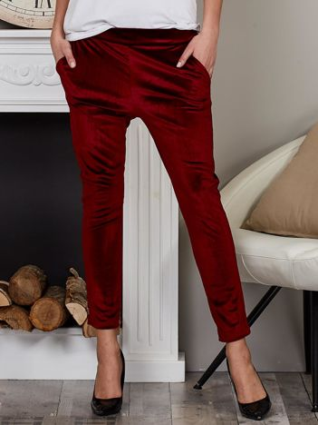 Welurowe spodnie rurki z kieszeniami bordowe