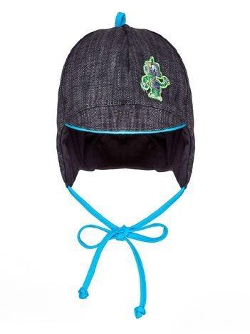 Wiązana czapka chłopięca z naszywką robota i daszkiem szaro-niebieska