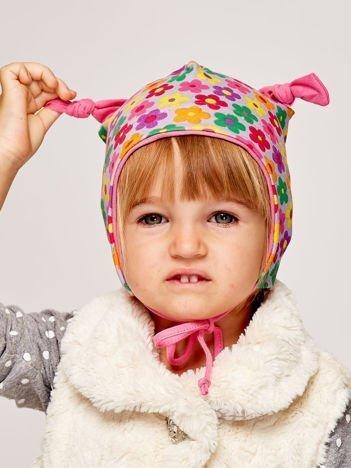 Wiązana czapka dziewczęca w kolorowe kwiatki wielokolorowa