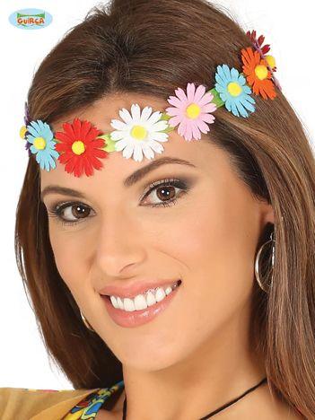 Wiązana opaska damska z kolorowych kwiatów na imprezę