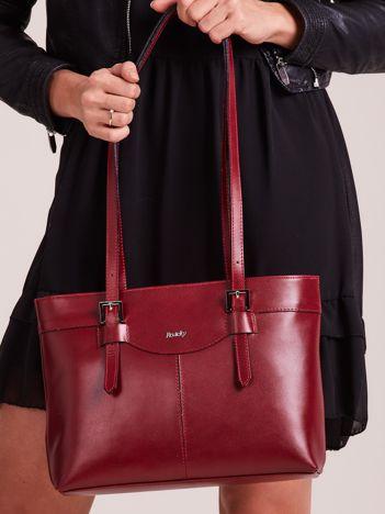 Wiśniowa elegancka torebka za skóry