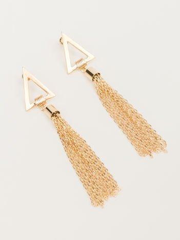 Wiszące złote długie kolczyki z ażurowymi trójkątami i złotymi łańcuszkami Zapięcie na sztyft Pokryte 18-to karatowym złotem