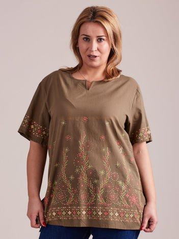 Wzorzysta bluzka koszulowa khaki PLUS SIZE