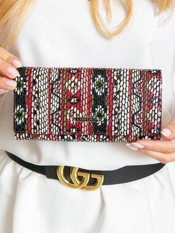 Wzorzysty portfel damski ze skóry naturalnej