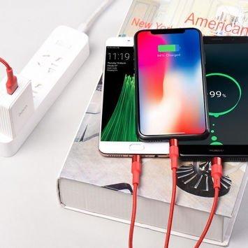 X26 Kabel 3-w-1 Lightning / Micro-USB / Type-C  Xpress w oplocie nylonowym oraz obudową ze stopu aluminium 9V 2A Szybke ładowanie Kolor czerwony