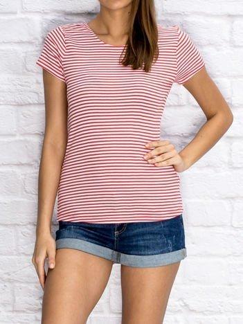 YUPS Czerwony prążkowany t-shirt w paski