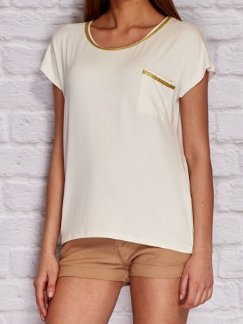 YUPS Ecru t-shirt z błyszczącą lamówką