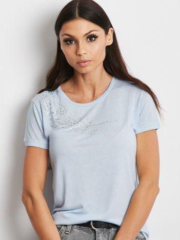 YUPS Niebieski t-shirt z aplikacją