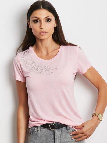 YUPS Różowy t-shirt z aplikacją