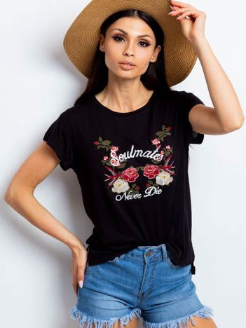 YUPS T-shirt z haftowanym nadrukiem kwiatów czarny