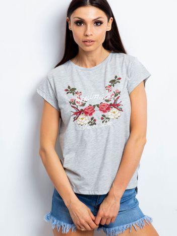 YUPS T-shirt z haftowanym nadrukiem kwiatów szary