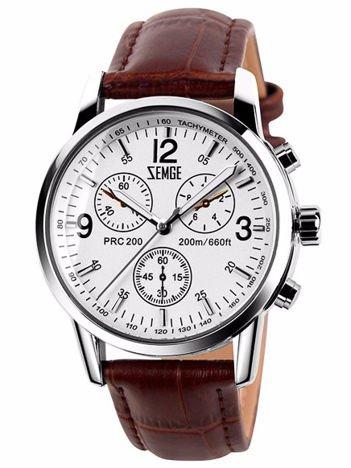 ZEMGE Zegarek unisex srebrny na skórzanym brązowym pasku Eleganckie pudełko prezentowe w komplecie
